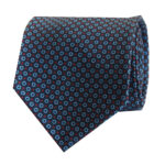 7-fold tie navy with sky blue round
