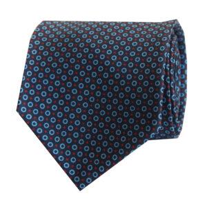 7-fold tie navy with sky blue round