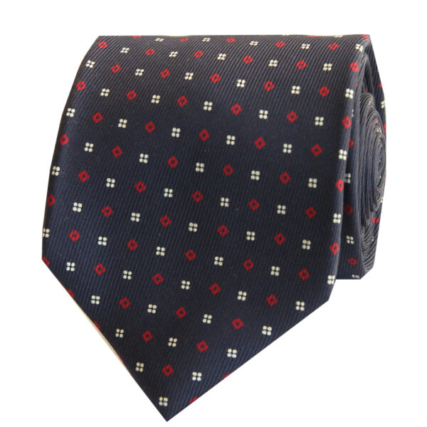 5-fold navy with red square tie