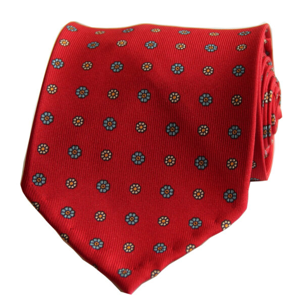 3-fold red silk twill tie