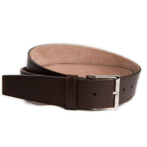 dark brown grained leather belt