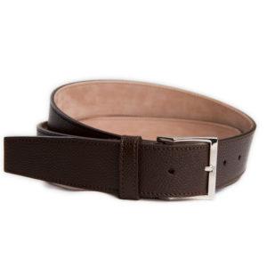 dark brown grained leather belt