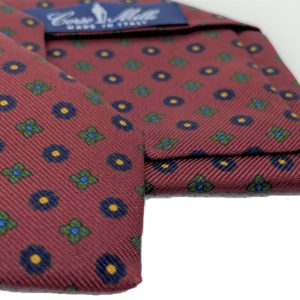 3-fold burgundy with motif silk twill tie