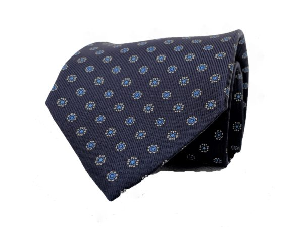 3-fold navy with sky blue and white motif tie