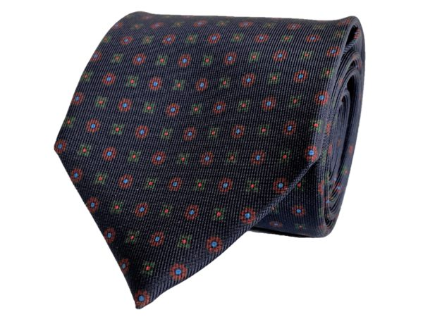 3-fold navy with burgundy and green tie