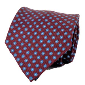 7-fold tie burgungy with floral motif