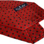 3-fold coral red with flower tie