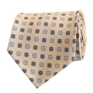 7-fold beige with floral motif tie