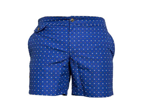blue micro floral motif swim short